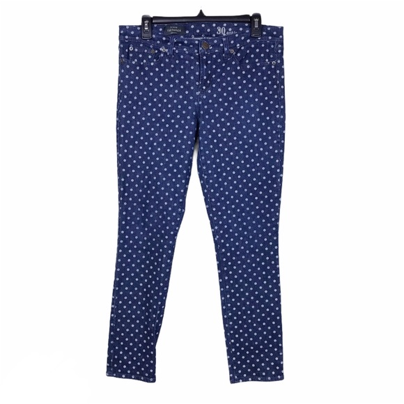 J. Crew Toothpick Polka Dot Ankle Skinny Jeans 30